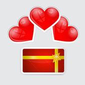 Lege geschenkenkaart met rode harten — Stockvector