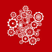 Abstract white vector cogs - gears on red background — Stock Vector