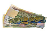 Money. Banknotes and coins of the Russian Federation. — Stock Photo