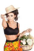 Beautiful woman with a flowers studio shoot — Zdjęcie stockowe