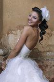 Beautiful brunette bride in antique style — Stok fotoğraf