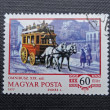 HUNGARY - CIRCA 1970: A stamp printed in HUNGARY shows a horse-drawn omnibus (1870), circa 1977 — Stock Photo