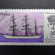 POLAND - CIRCA 1980: Stamp printed in POLAND shows naval commander Tadeusz Ziolkowskii and his ship Lwow, circa 1980 — Stock Photo