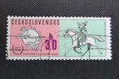 捷克斯洛伐克---大约 1974年: 印在前捷克斯洛伐克发行特别邮票纪念诞辰一百周年的万国邮政联盟. — 图库照片