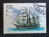 USSR - CIRCA 1981: A stamp printed in former SOVIET UNION show a Barquentine Vega, circa 1981 — Stock Photo