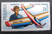 польша - около 1981: штамп напечатан в польше показывает мальчик с модель самолета, около 1981 — Стоковое фото
