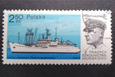 POLAND - CIRCA 1980: Stamp printed in POLAND shows Antoni Garnuszewski, naval captain and founder of the first Marine School in Tczew, and his ship, circa 1980 — Stock Photo