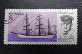 POLAND - CIRCA 1980: Stamp printed in POLAND shows naval commander Tadeusz Ziolkowskii and his ship Lwow, circa 1980 — Stock Photo