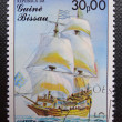 GUINEA BISSAU - CIRCA 1985: Stamp printed in GUINEA BISSAU shows a French galleon St. Louis, circa 1985 — Stock Photo