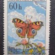 CZECHOSLOVAKIA - CIRCA 1961: A stamp printed in former CZECHOSLOVAKIA shows Peacock Butterfly (Nymphalis jo L). The author is Max Svabinky, circa 1961 — Foto de Stock