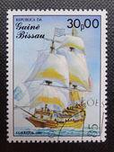 GUINEA BISSAU - CIRCA 1985: Stamp printed in GUINEA BISSAU shows a French galleon St. Louis, circa 1985 — Stock Photo