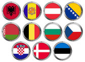 Flags in Round Metal Frame - Europe 1 — Stock Photo