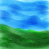 Painted Watercolor Background - Meadow and Sky — Stock Photo