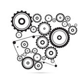 Abstract vector cogs, gears on white background — Stock Vector