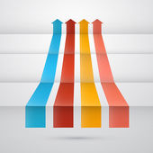 Retro vector arrows on abstract background — Stock Vector