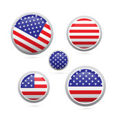 American flag buttons set isolated on white background — Stock Vector
