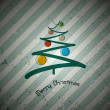Retro christmas background with abstract tree and balls  — Imagen vectorial