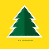 Xmas, christmas green tree on yellow background — Vetorial Stock