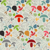 Seamless pattern with mushrooms and leaves — Stock Vector