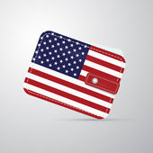 Vector american flag leather wallet, billfold — Stock Vector