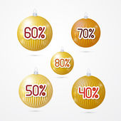 Gold discount, sale christmas balls — Stock Vector