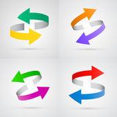 Vector 3d colorful arrows set — Stock Vector