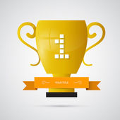 Vector gold winner trophy, cup. first place — Stock Vector