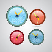 Retro vector 3d clock set isolated on white background — Stock Vector