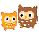 A young owl look at his father vector — Stock Vector