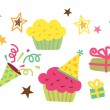 Birthday CupCake, Star, Gift Vector — Stock Vector