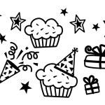 Birthday CupCake, Star, Gift Vector — Stock Vector