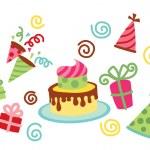 Birthday Cake & Hat Party Vector — Stock Vector #34704283