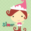 Sister elf at green background  — Stock Vector