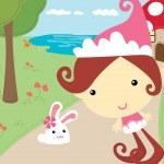 Elf Sister with rabbit — Stock Vector