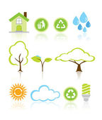 Collection Eco Design Elements Isolated Vector Illustration — Stock Vector