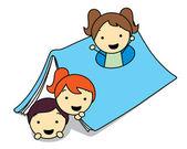 Kinder kommen aus dem hausbuch — Stockvektor