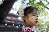 Girl with thanaka paste on the face — Stock Photo