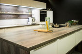 View into modern wooden optic kitchen — ストック写真