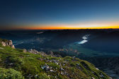 Sunrise on the top of mountain — Foto Stock
