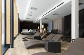 Silent room for relaxing to get away from it all with modern furniture and decoration — Stock Photo