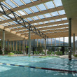 Stock Photo: Indoor architecture of public swim bath with laps and glass roof