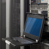 Keyboard Video Mouse KVM Switch in server rack mount — Stock Photo