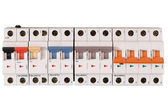 Colored electric switches in on and off mode — Stock Photo