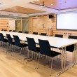 Modern wooden conference room with multimedia environment — Stock Photo