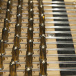 Stock Photo: The inside of a grand piano with strings and mechanics