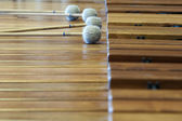 Music wood xylophon with lying sticks on it — Stock Photo