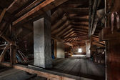 Old wooden attic with roof framework structure — Stock Photo