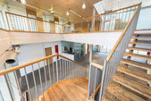 Stairway with wooden steps in modern office building — 图库照片