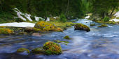 Flowing blue water of river across green spring nature and rocks — Stockfoto