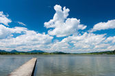 Wooden boardwalk at lake hopfen am see with blue sky and clouds — Stockfoto